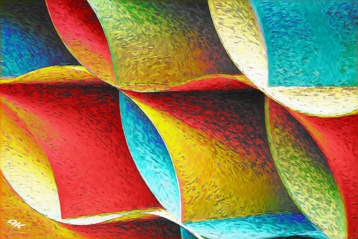 detail of curved, colored sheets of paper