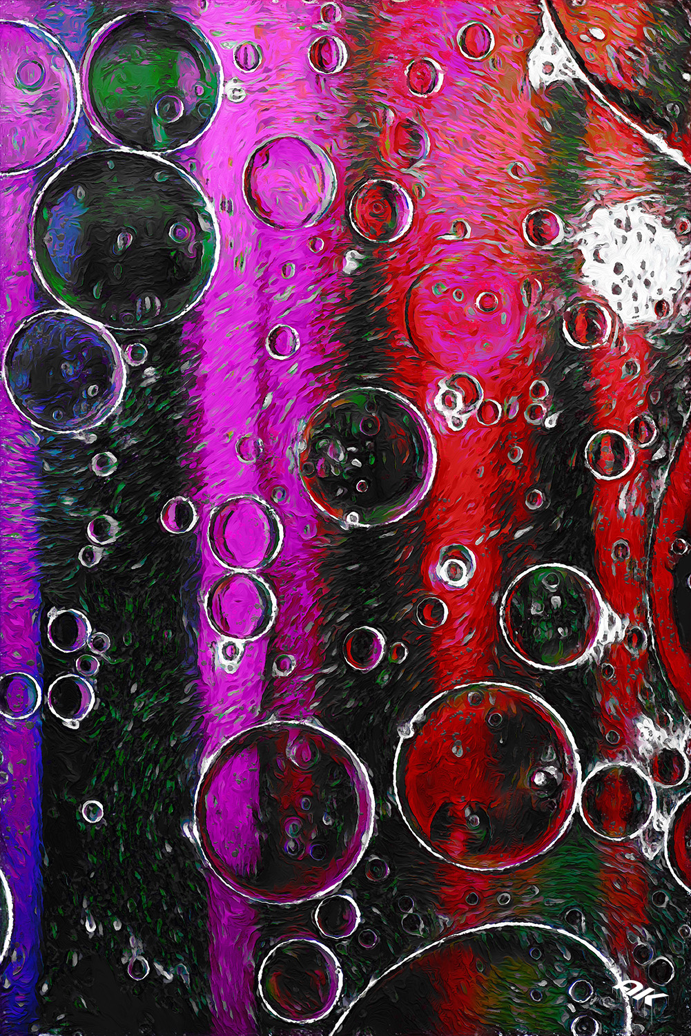 Pink and purple abstract pattern made with oil bubbles on water coming up in motion