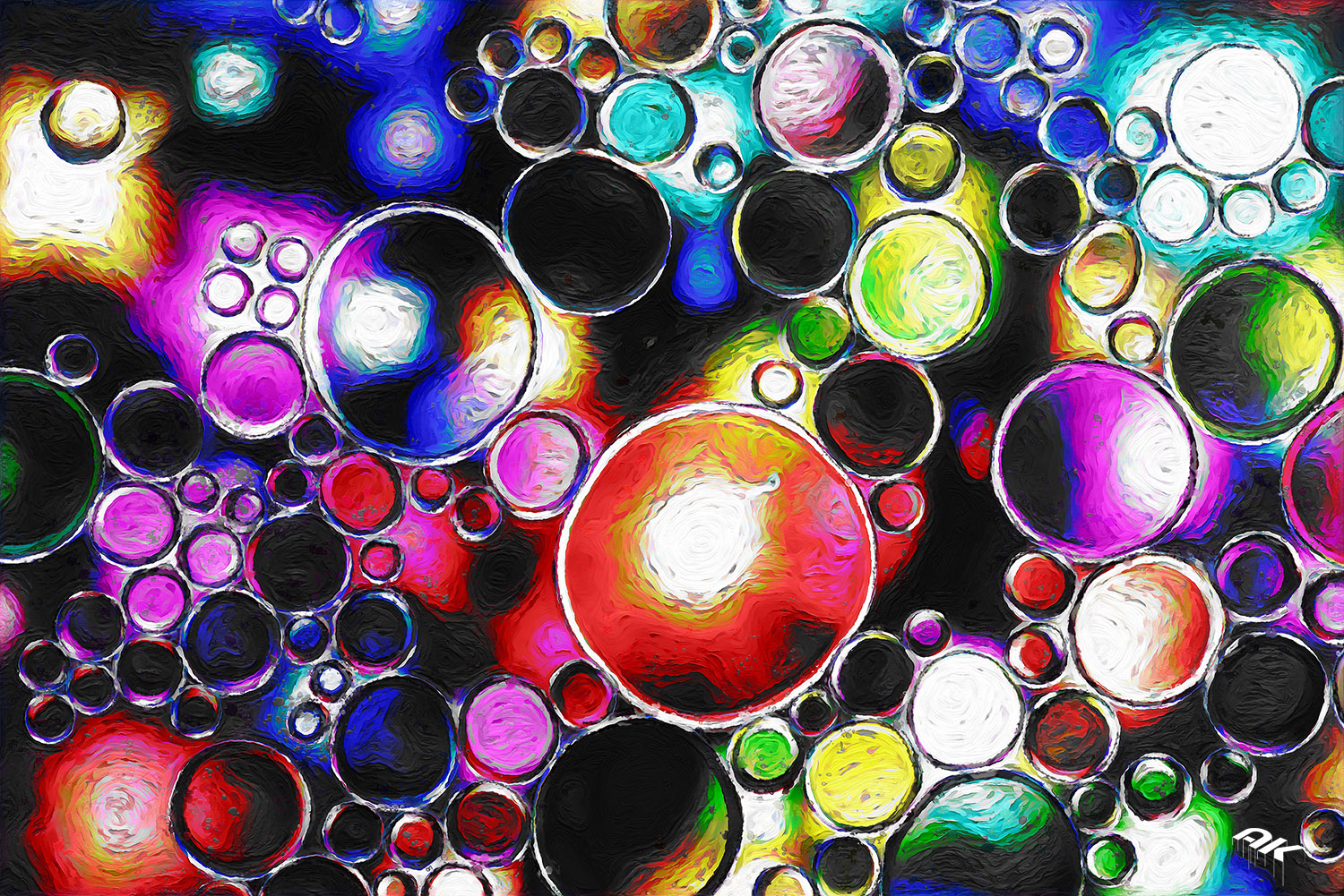 bright oil bubbles in water with abstract pattern