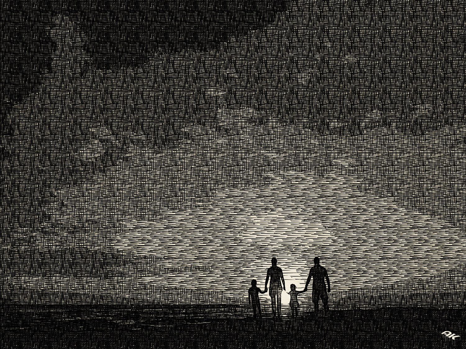 Family at sunset by the ocean. People hold hands and look at the