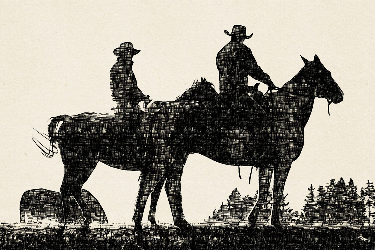 Two cowboys riding on horseback in a Prairie landscape at sunset.