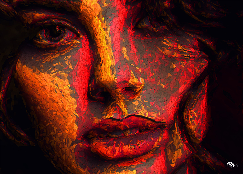 Closeup face of a beautiful woman with a smoky eye makeup