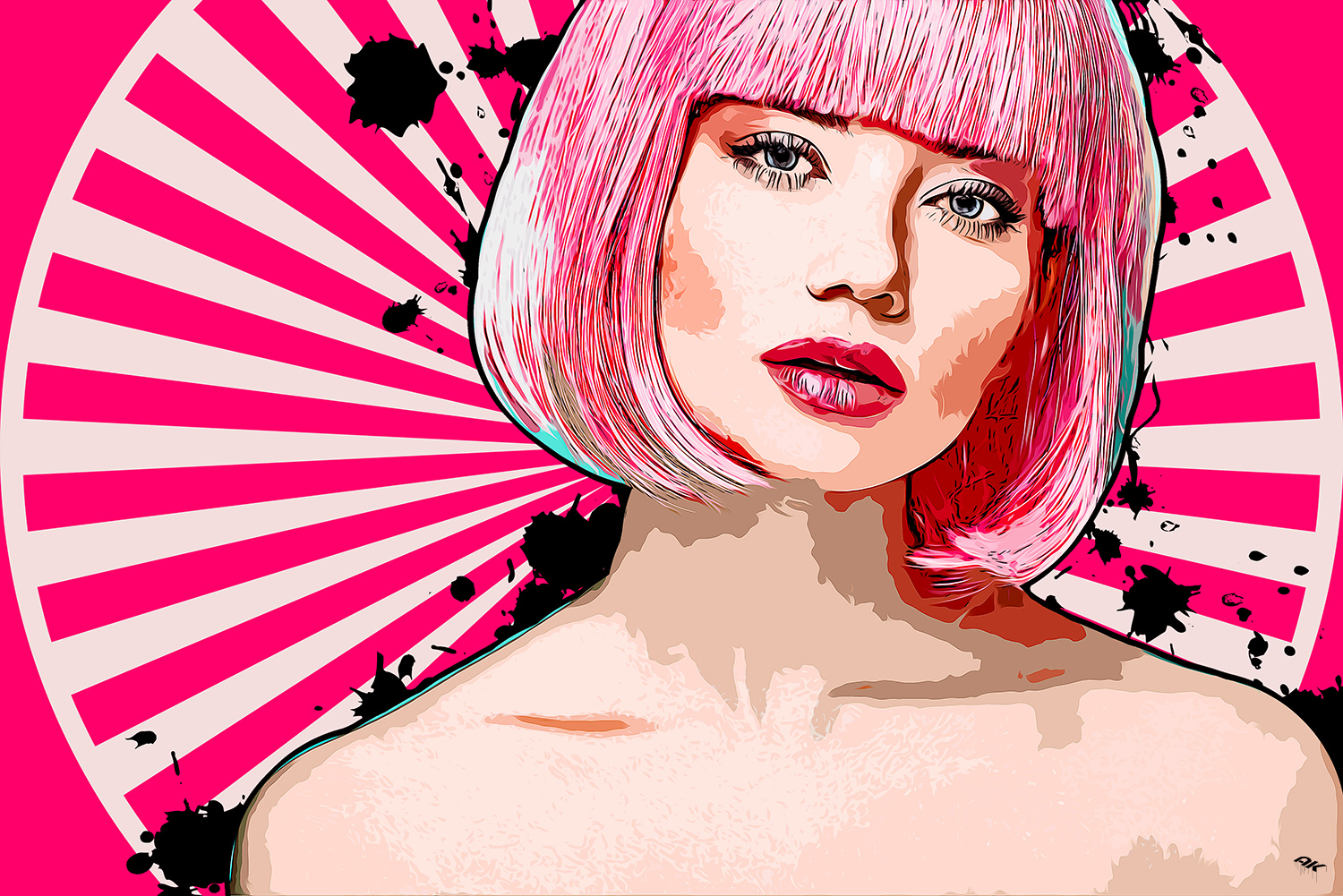 attractive young woman with pink bob cut and stylish makeup look